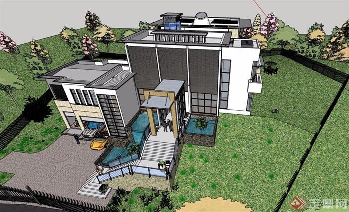 某现代风格详细的整体完整别墅设计su模型