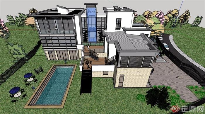 某现代风格详细的整体完整别墅设计su模型图片