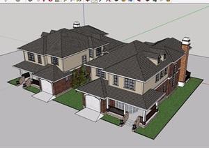某住宅小区双拼别墅详细建筑设计SU(草图大师)模型