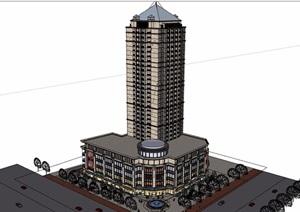 欧式风格详细的商业住宅楼综合设计SU(草图大师)模型