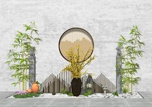 新中式庭院景觀 小品 陶罐植物 木條組合SU(草圖大師)模型