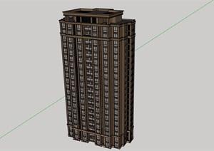 现代小高层居住建筑楼设计SU(草图大师)模型