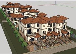 大连瓦房店排屋6合住宅别墅设计SU(草图大师)模型