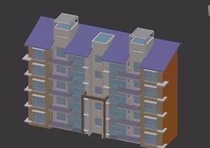 五层欧式风格住宅洋房建筑楼设计3d模型