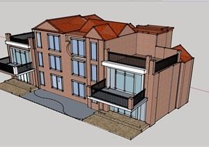 欧式风格详细多层双拼别墅设计SU(草图大师)模型