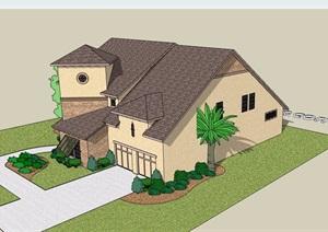 两层详细的欧式风格详细的别墅设计SU(草图大师)模型