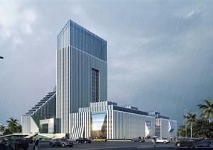 某现代风格高层生态办公建筑楼设计SU(草图大师)模型及效果图