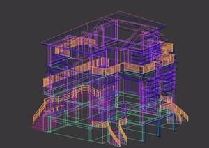 双拼住宅欧式别墅建筑设计3d模型
