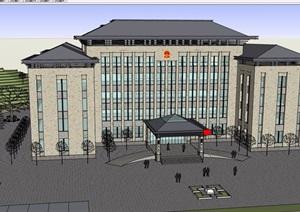 新古典风格检察院完整建筑设计SU(草图大师)模型