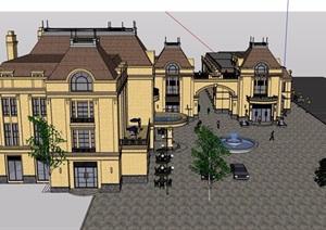 某欧式风格街边详细的商业楼建筑设计SU(草图大师)模型