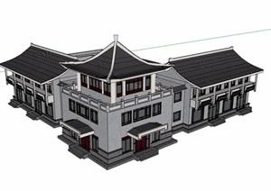 仿古商业多层详细建筑设计SU(草图大师)模型