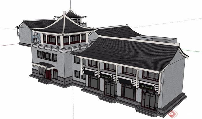 仿古商业多层详细建筑设计su模型