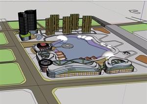 某地商业办公综合建筑楼群设计SU(草图大师)模型
