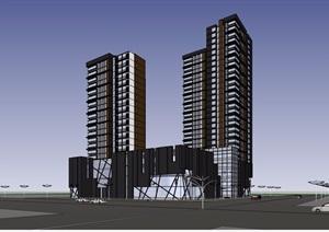 某现代风格详细的商业住宅详细建筑SU(草图大师)模型