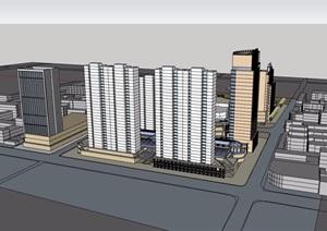 详细的完整商业办公综合楼SU(草图大师)模型