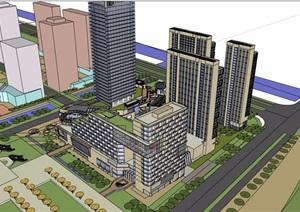某商业中心办公建筑综合楼设计SU(草图大师)模型