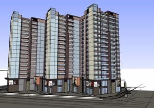 现代风格商业住宅综合楼设计SU(草图大师)模型