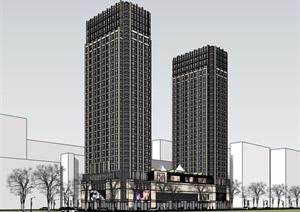 商业办公完整详细的综合楼设计SU(草图大师)模型