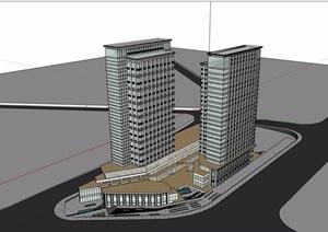 某现代风格详细的高层商业办公楼设计SU(草图大师)模型