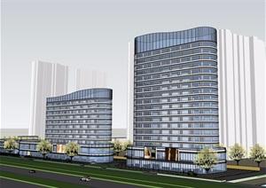 高低塔商业办公综合体建筑设计SU(草图大师)模型