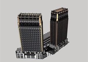 某现代风格详细的商业办公综合楼SU(草图大师)模型
