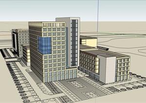 某现代风格详细的综合楼群设计SU(草图大师)模型
