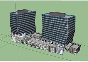 某详细商业办公综合体详细设计SU(草图大师)模型
