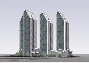 现代写字楼办公建筑设计SU(草图大师)模型