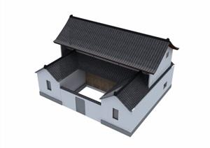 中式民居住宅楼建筑设计3d模型及效果图