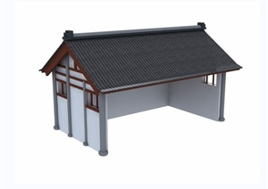中式风格单层民居建筑设计SU(草图大师)模型