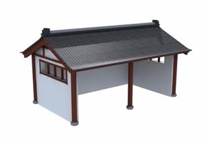 中式风格简单的民居建筑3d模型及效果图