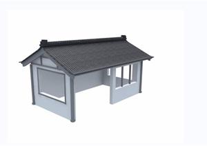 中式民居合院建筑设计3d模型及效果图