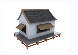单层民居住宅建筑设计3d模型及效果图
