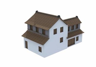 某中式两层民居住宅楼设计3d模型及效果图