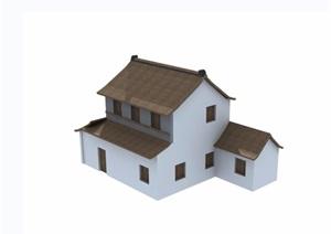 两层民居中式住宅楼建筑设计3d模型及效果图