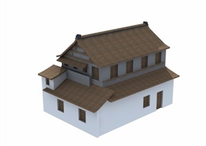 某中式两层民居住宅建筑楼3d模型及效果图