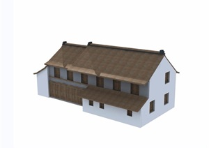 两层中式风格民居住宅楼设计3d模型及效果图