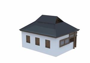 某中式风格住宅民居建筑3d模型及效果图