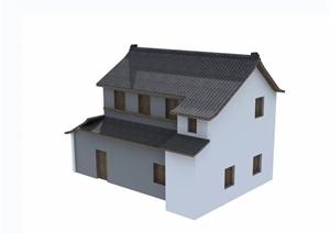 中式详细的民居住宅楼设计3d模型及效果图