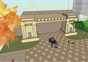 某详细的小区住宅大门设计SU(草图大师)模型