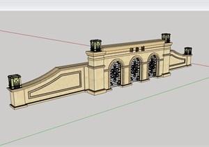 某现代详细的小区住宅完整大门设计SU(草图大师)模型