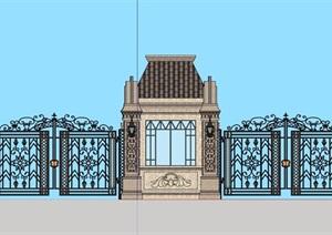 某法式详细的小区住宅完整大门设计SU(草图大师)模型