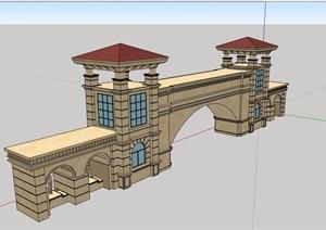 某详细的欧式小区住宅完整大门设计SU(草图大师)模型