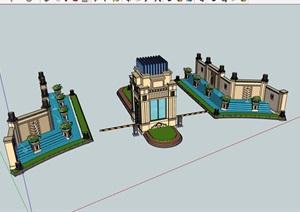 某详细的欧式风格小区住宅完整大门设计SU(草图大师)模型