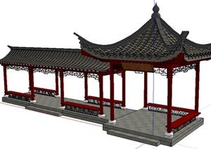 中式亭廊组合 SU(草图大师)模型