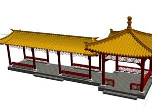 琉璃瓦中式亭廊 SU(草图大师)模型