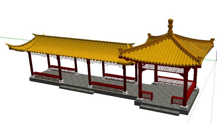 琉璃瓦中式亭廊(1)