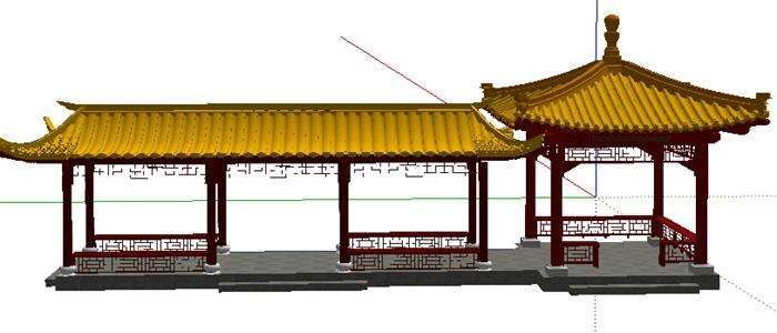 琉璃瓦中式亭廊(3)