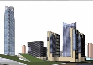 某详细的商业办公综合体建筑SU(草图大师)模型