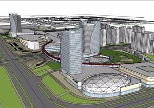 某地商业办公综合建筑楼SU(草图大师)模型